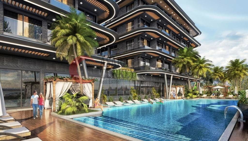 New building of apartments in Alanya Hasbahçe with sea view